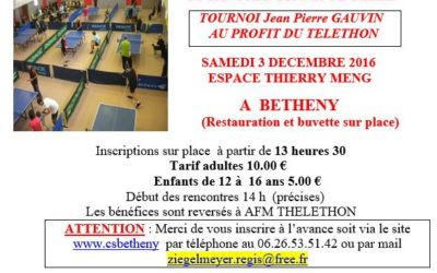 Telethon – Tournoi de tennis de table
